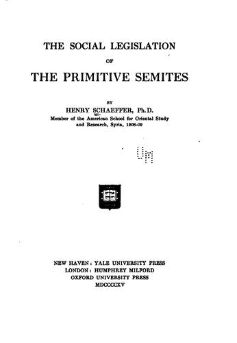 Download The social legislation of the primitive Semites