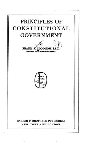 Principles of constitutional government