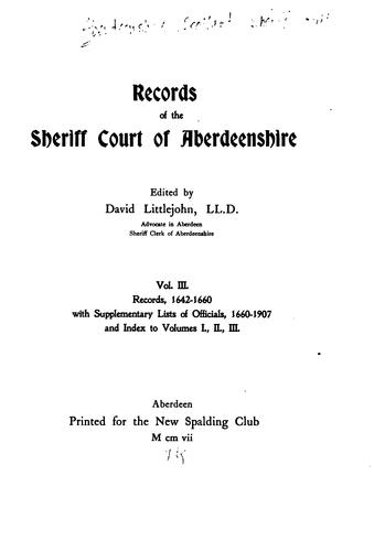 Download Records of the Sheriff Court of Aberdeenshire