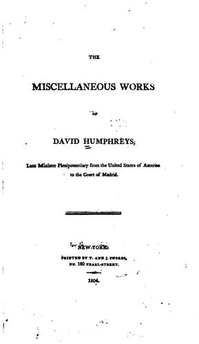 Download The miscellaneous works of David Humphreys