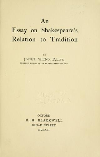 Download An essay on Shakespeare's relation to tradition