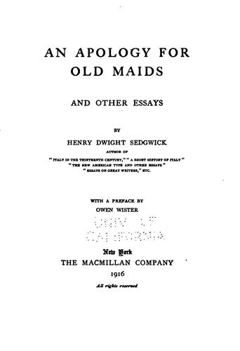 An apology for old maids