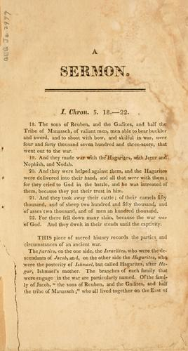 A sermon, delivered in the meeting house of the First Baptist church in the city of New York, August 20th, 1812.