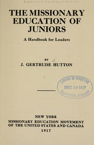 Download The missionary education of juniors