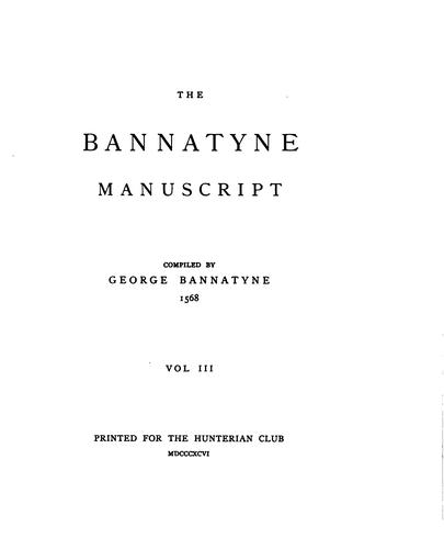 Download The Bannatyne manuscript