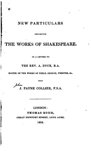 Download New particulars regarding the works of Shakespeare.