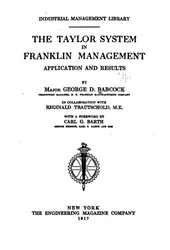 The Taylor system in Franklin management