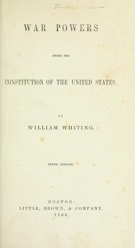 Download War powers under the constitution of the United States.