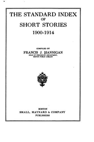 The standard index of short stories, 1900-1914
