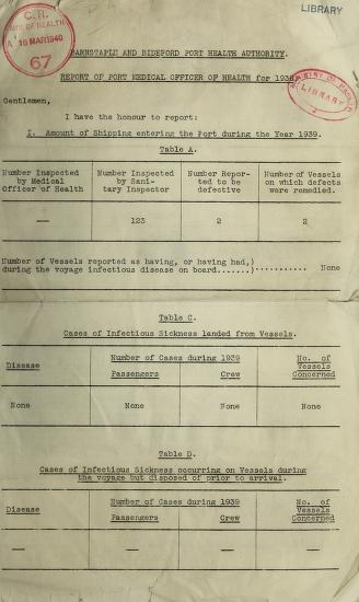 [Report 1939] by Bideford (England). Port Health Authority