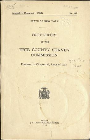 First report of the Erie County Survey Commission pursuant to chapter 36, laws of 1933  by