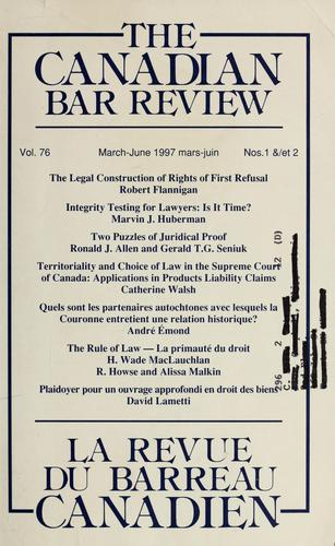 The Canadian bar review by Canadian Bar Association