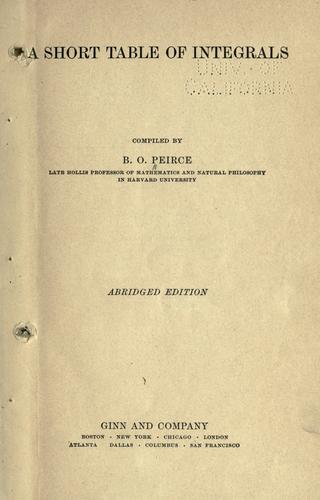 A short table of integrals by B. O. Peirce