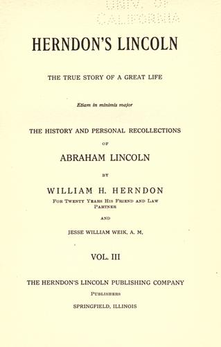 Herndon's Lincoln by William Henry Herndon
