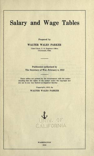 Salary and wage tables by Walter Wales Parker