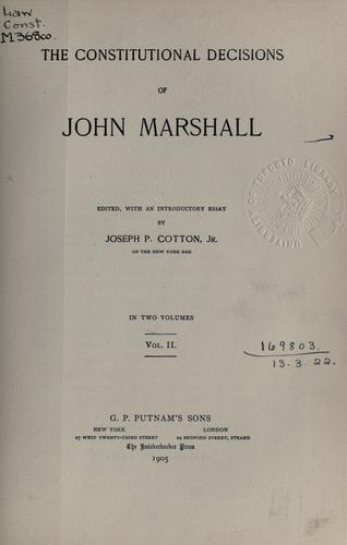 The constitutional decisions by John Marshall