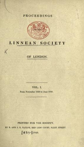 Proceedings of the Linnean Society of London. by