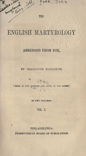 The English martyrology by John Foxe