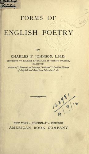Forms of English poetry.