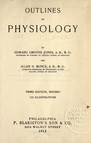Outlines of physiology by Edward Groves Jones
