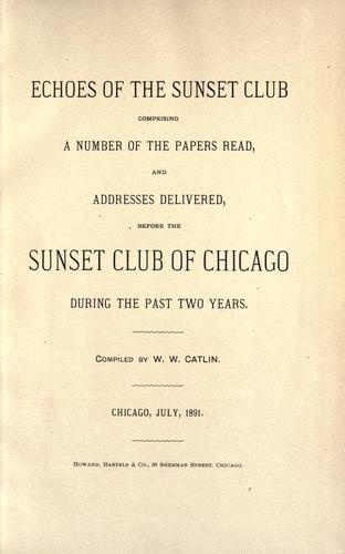 Echoes of the Sunset club by Sunset club, Chicago.