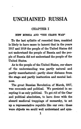 Unchained Russia by Charles Edward Russell