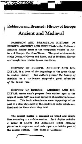 History of Europe, ancient and medieval by James Henry Breasted