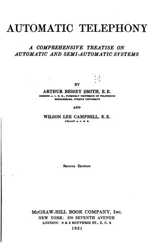 Automatic telephony by Arthur Bessey Smith