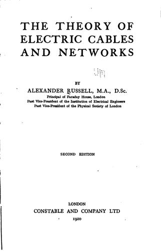 The theory of electric cables and networks by Russell, Alexander