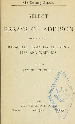 Select essays of Addison by Joseph Addison