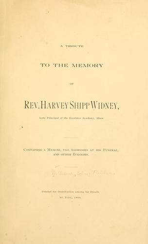 A tribute to the memory of Rev. Harvey Shipp Widney by J. Fletcher Williams