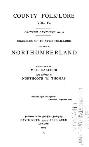 Examples of printed folk-lore concerning Northumberland