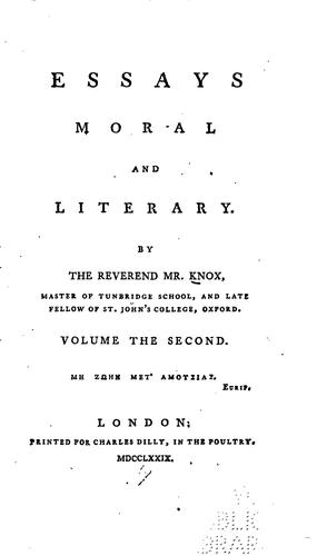 Essays moral and literary by Vicesimus Knox