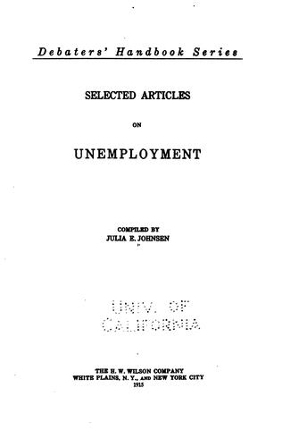 Selected articles on unemployment by Julia E. Johnsen