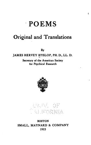 Poems, original and translations by Hyslop, James H.