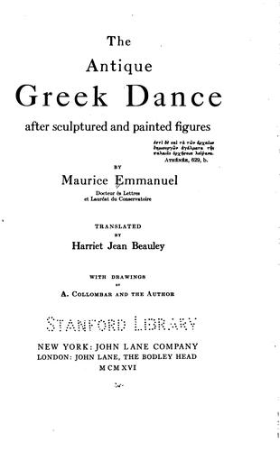 The antique Greek dance, after sculptured and painted figures by
