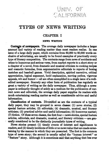Types of news writing by Willard Grosvenor Bleyer