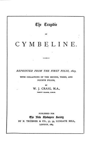 The tragedie of Cymbeline by William Shakespeare