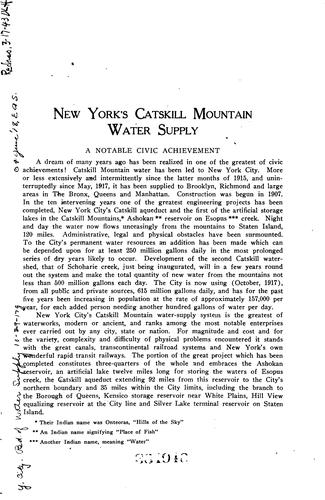 Catskill water supply by New York (N.Y.). Board of Water Supply.