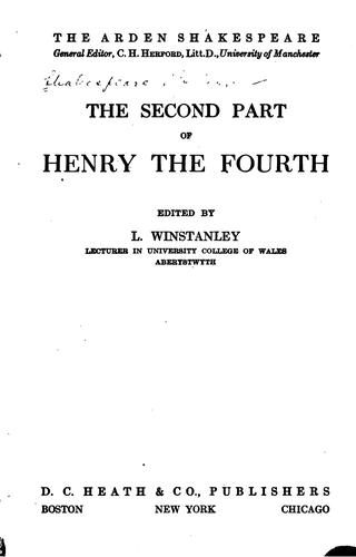The second part of Henry the Fourth
