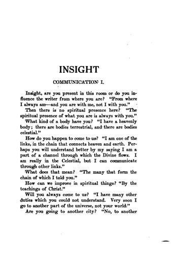 Insight; a record of psychic experiences by Emma Crow Cushman